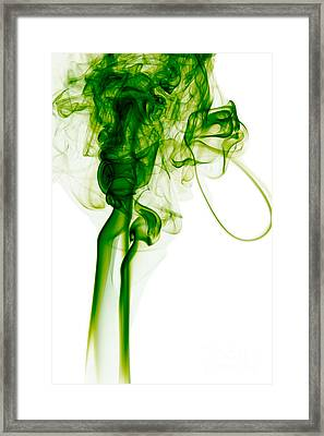Abstract Vertical Green Mood Colored Smoke Wall Art 03 Framed Print by Alexandra K
