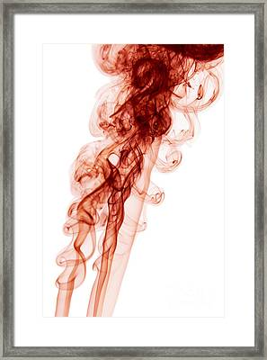 Abstract Vertical Blood Red Mood Colored Smoke Wall Art 03 Framed Print by Alexandra K