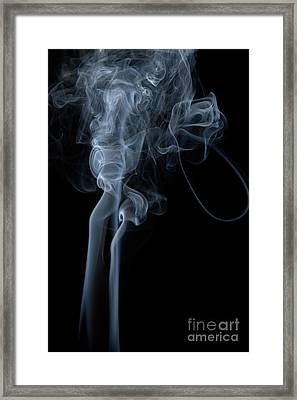 Abstract Vertical White Mood Colored Smoke Wall Art 02 Framed Print by Alexandra K