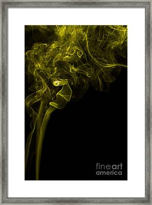 Mood Colored Abstract Vertical Yellow Smoke Wall Art 03 Framed Print by Alexandra K
