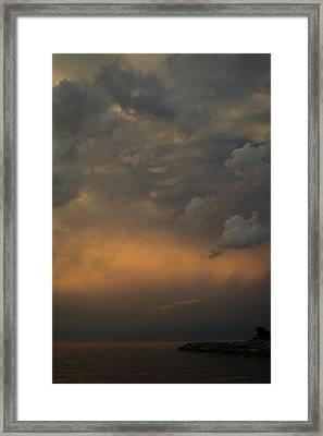 Moody Storm Sky Over Lake Ontario In Toronto Framed Print by Georgia Mizuleva