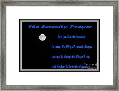 Moon - Serenity Prayer - Blue Framed Print by Barbara Griffin