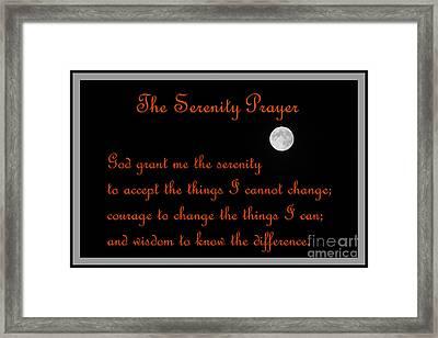Moon - Serenity Prayer - Orange Framed Print by Barbara Griffin