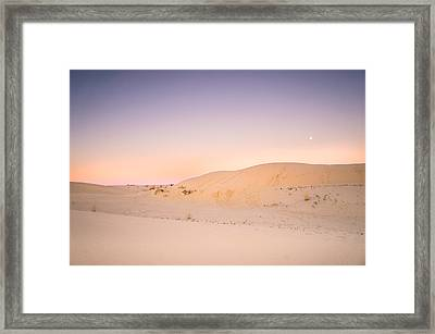 Moon And Sand Dune In Twilight Framed Print by Ellie Teramoto