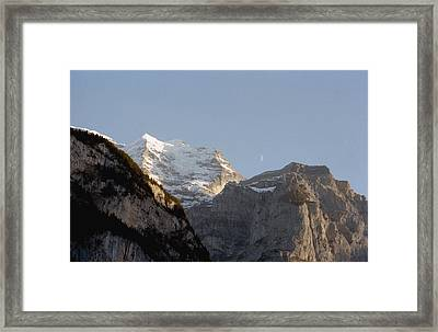 Moon Between Mountains Framed Print by Marcio Faustino