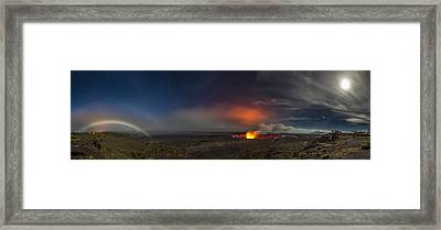 Moon Bows Lava Glows And Halos Framed Print by Sean King