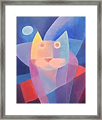 Moon Cat Framed Print by Lutz Baar