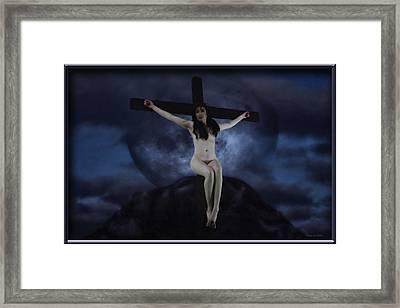 Moon Crucifix II Framed Print by Ramon Martinez