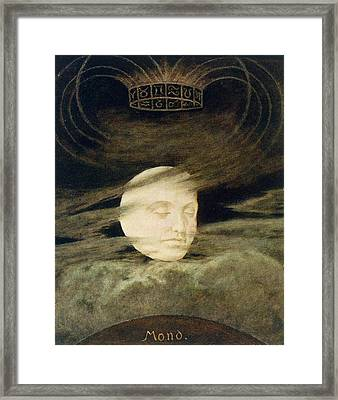 Man In The Moon Framed Print featuring the painting Moon by Hans Thoma