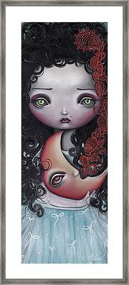 Man In The Moon Framed Print featuring the painting Moon Keeper by  Abril Andrade Griffith