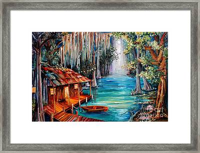 Moon On The Bayou Framed Print by Diane Millsap