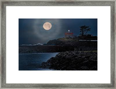 Moon Over Battery Point Framed Print by James Heckt