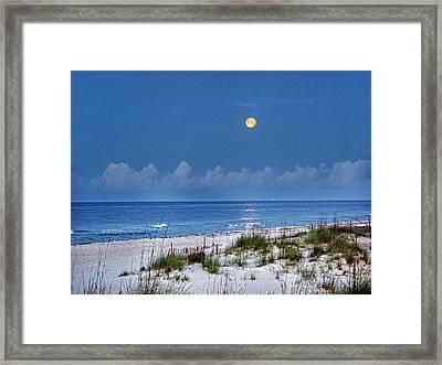 Moon Over Beach Framed Print by Michael Thomas