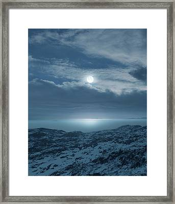 Moon Over Frozen Landscape Framed Print by Detlev Van Ravenswaay