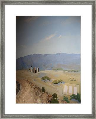Moon Over Lost Wages In Train Room Framed Print by Maria Hunt