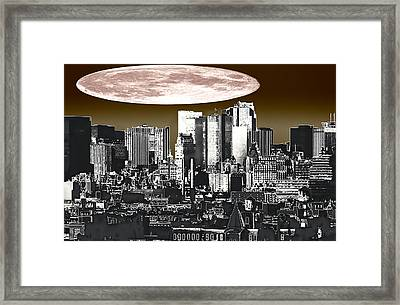 Moon Over Manhattan Framed Print by Kellice Swaggerty