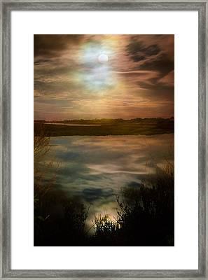 Moon Over Marsh - 35mm Film Framed Print by Gary Heller
