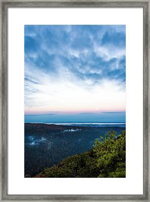 Moon Over Morgantown - Landscape - Sunrise Framed Print by Shara Lee