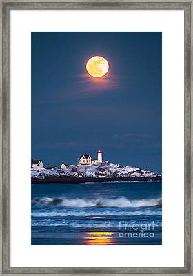 Moon Over Nubble Framed Print by Benjamin Williamson
