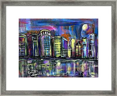 Moon Over Orlando Framed Print by Everett Spruill