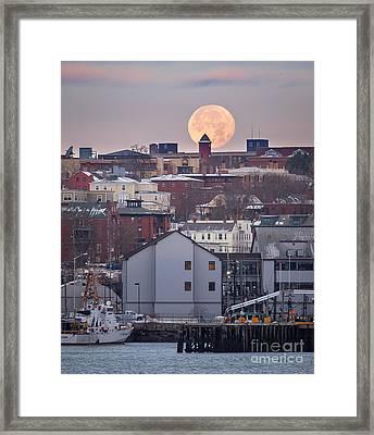 Moon Over Portland Framed Print by Benjamin Williamson