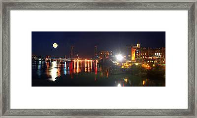 Moon Over Portsmouth Harbor Framed Print by Joann Vitali