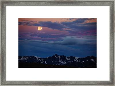 Moon Over Rockies Framed Print by Darren  White