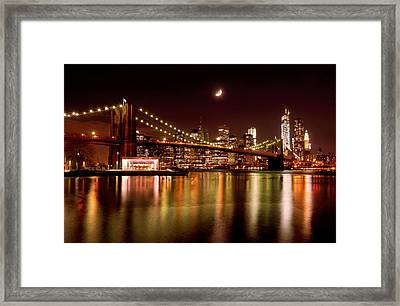 Moon Over The Brooklyn Bridge Framed Print by Mitchell R Grosky