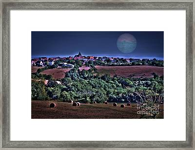 Moon Over The Fields Framed Print by Catherine Arnas