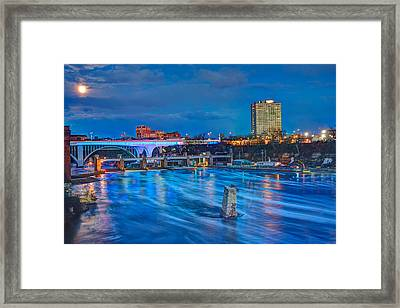 Moon Over The Mississippi Framed Print by Amanda Stadther