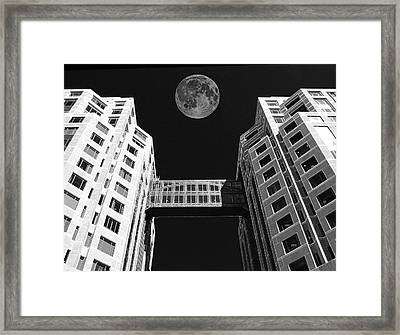 Moon Over Twin Towers Framed Print by Samuel Sheats