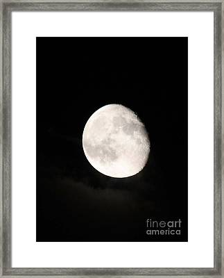 Moon Photographed In Black And White Framed Print by John Telfer