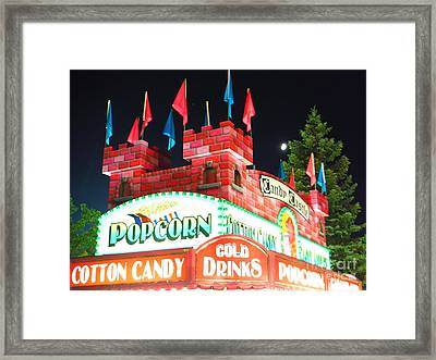 Moon Rising Over Candy Castle Framed Print by Paddy Shaffer