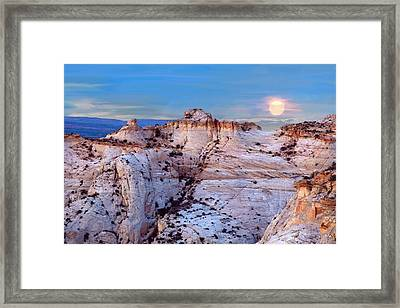 Moon Rising Over Escalante Staircase Framed Print by Bob and Nadine Johnston