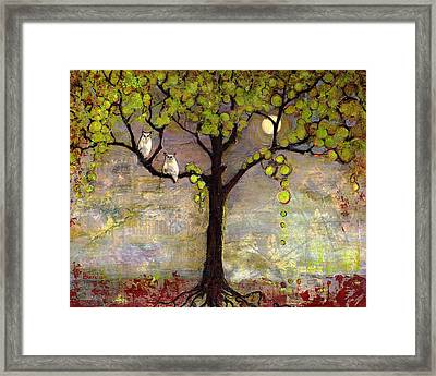 Moon River Tree Owls Art Framed Print by Blenda Studio