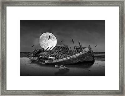 Moon Shipwreck Framed Print by Randall Nyhof