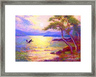 Wild Goose, Moon Song Framed Print by Jane Small