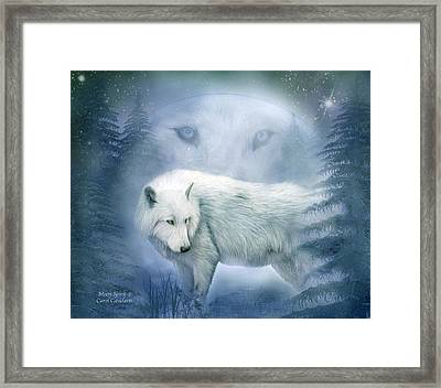 Moon Spirit 2 - White Wolf - Blue Framed Print by Carol Cavalaris