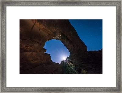 Moon Through Arches Windows Framed Print by Michael J Bauer