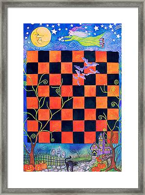 Flight Of The Moon Witch Checkerboard Framed Print by Janet Immordino