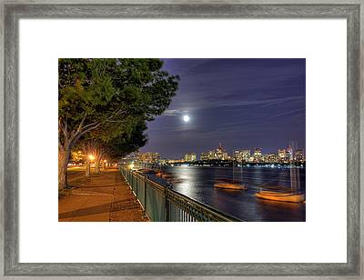 Moonglow Over Boston Framed Print by Joann Vitali