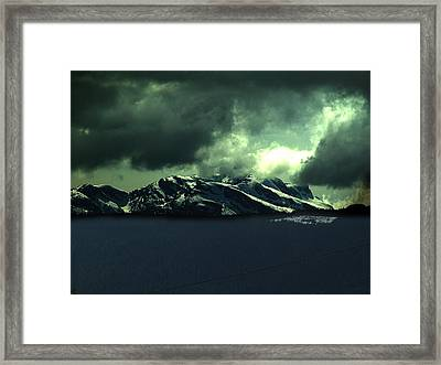 Moonlight And Mountains Framed Print by Janet Ashworth