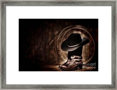 Moonlight Cowboy Framed Print by Olivier Le Queinec