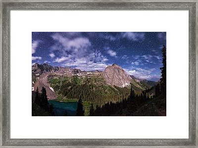 Moonlight Hiking On The Blue Lakes Trail Framed Print by Mike Berenson