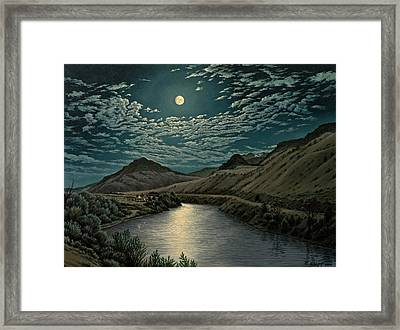 Moonlight On The Yellowstone Framed Print by Paul Krapf