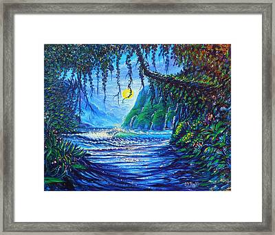 Moonlight Path To Paradise Framed Print by Joseph   Ruff