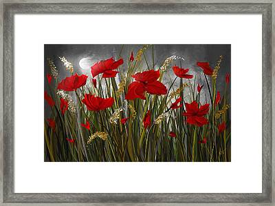 Moonlight Poppies - Poppies At Night Painting Framed Print by Lourry Legarde