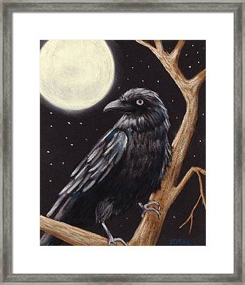 Moonlight Raven Framed Print by Anastasiya Malakhova
