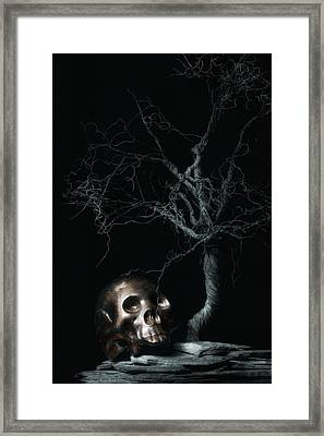 Moonlit Skull And Tree Still Life Framed Print by Tom Mc Nemar
