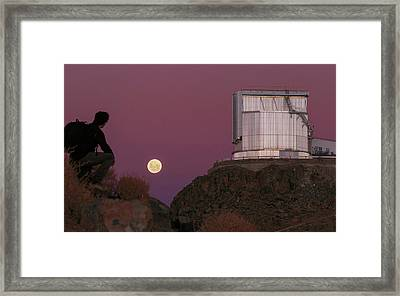 Moonrise Behind The Ntt Telescope Framed Print by Babak Tafreshi